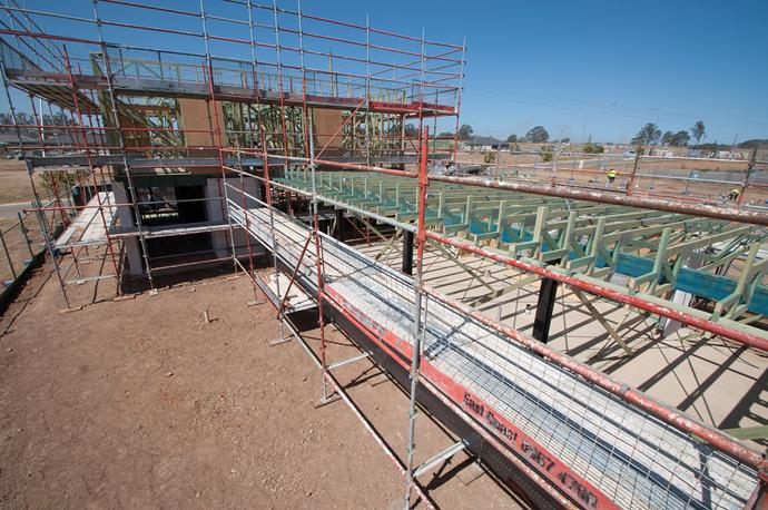 **SEPTEMBER 25, 2017: COVERED IN SCAFFOLDING** <br><br> My Ideal House is wearing an extra layer this week: it's cloaked in scaffolding so the next steps in the build process can be completed. This allows workers onsite at Crest by Mirvac, in Sydney's south-west, to safely access the second storey of the home and focus on installing the roof battens and roof. The scaffolding will enable tradespeople to be positioned directly in front of the parts of the roof, ceiling or walls they need to work on and makes it possible for multiple workers to work side-by-side simultaneously. The process of putting on the Colorbond roof kicks off next week.