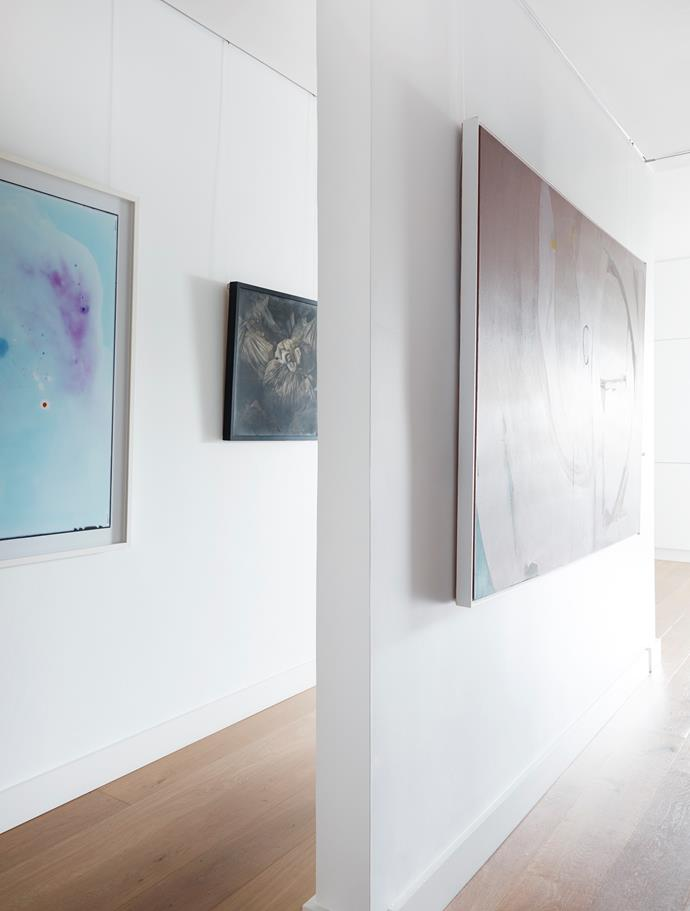 In the hallway, artworks by Justine Varga (left), Ninni Donato and Naomi Charles.