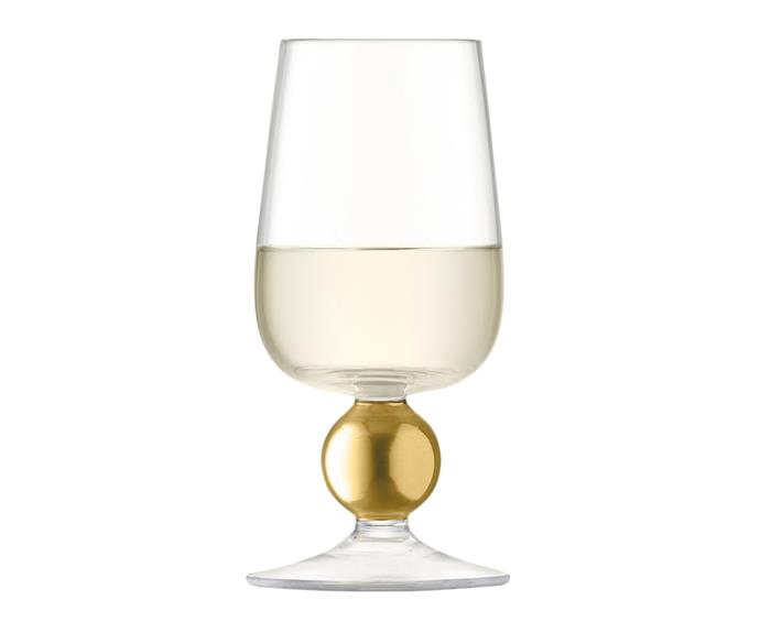 "LSA International Oro white wine glass in Matte Gold, $73 for set of 2, from [Amara](https://au.amara.com/|target=""_blank""