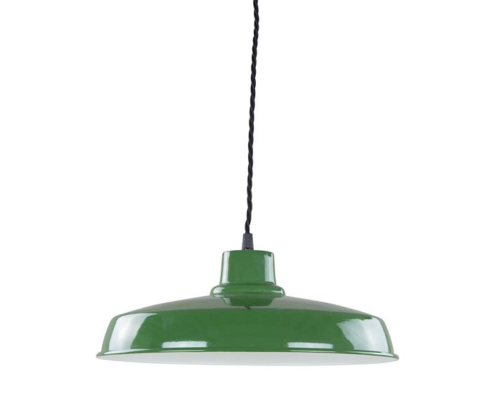 "Barnhouse pendant light in Green Enamel, medium, $89, from [Schots Home Emporium](https://www.schots.com.au/|target=""_blank""