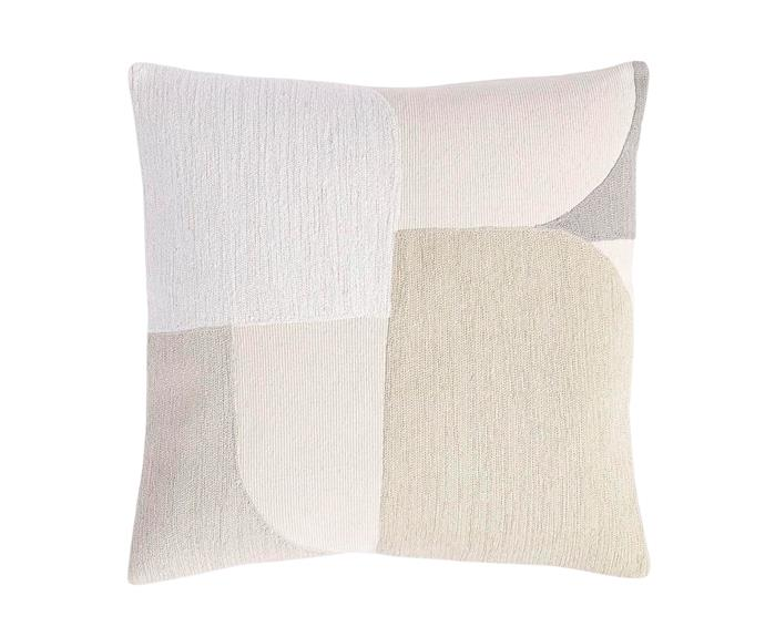 "Embroidered collage cushion cover in Stone White, $49, from [West Elm](http://www.westelm.com.au/|target=""_blank""