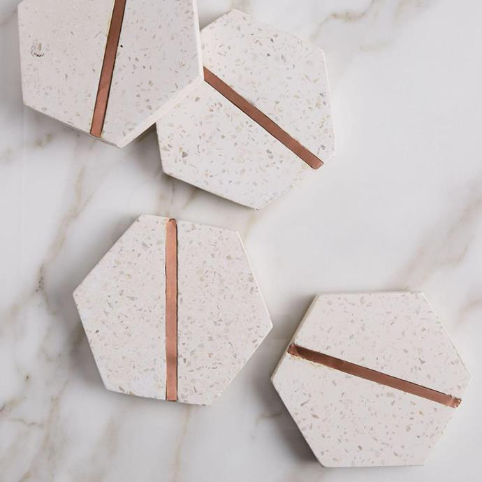 "White Ash terrazzo coasters, $44 for set of 4, from [West Elm](http://www.westelm.com.au/|target=""_blank""