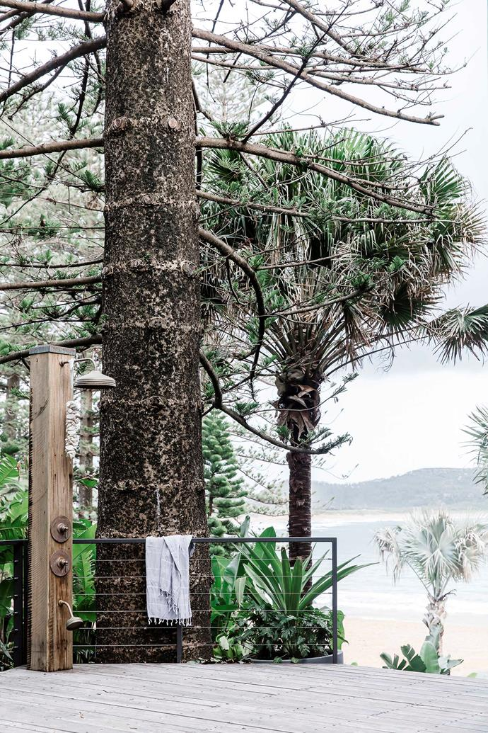 On the private side of the existing Norfolk Island pine, a recycled pillar marks the spot where sand from the beach is left behind.