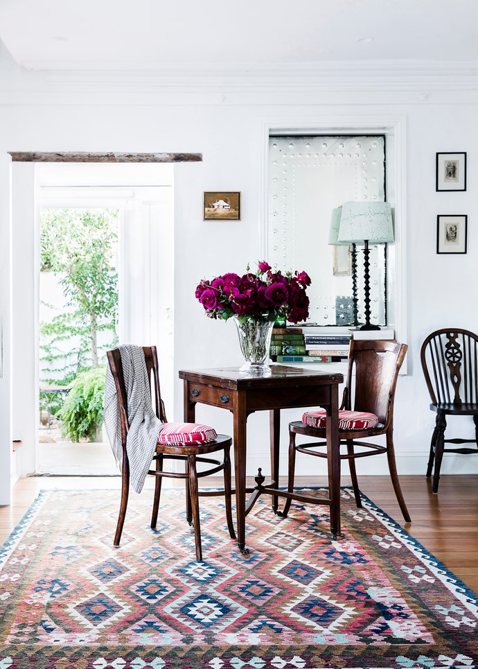 Desk, Raffan Kelaher & Thomas Auctioneers. Chair, Potts Point Galleries Sydney. The Philips lamp was discovered in an Adelaide Hills shop, while the cabinet under the stairs is an early American sewing machine. Artworks by Robert Jacks from Olsen Irwin Gallery.
