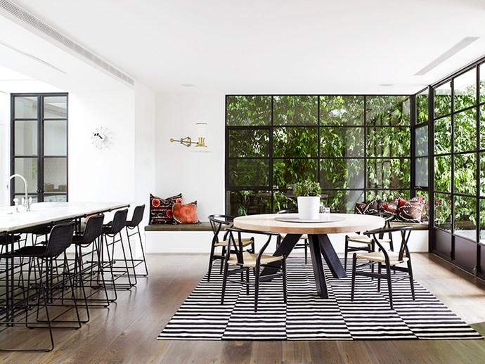 Monochrome dining room