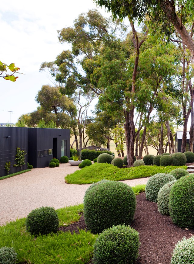 "Designed as ""a journey of interconnected zones"" this [minimalist, manicured garden on Victoria's Mornington Peninsula](https://www.homestolove.com.au/manicured-garden-victoria-mornington-peninsula-5915