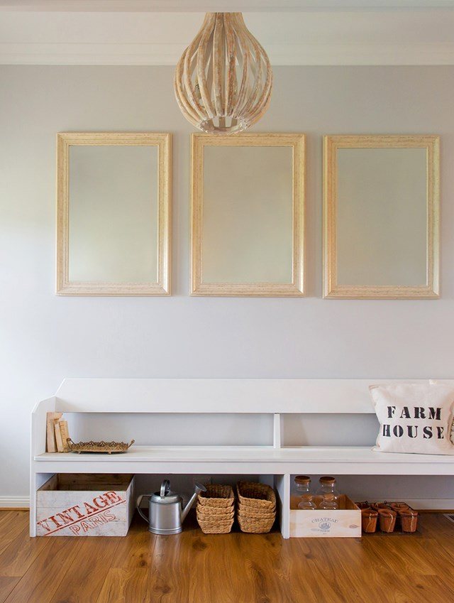 "A long hallway in a [newly built farmhouse](https://www.homestolove.com.au/nordic-home-renovation-5113|target=""_blank"") has been transformed by this church pew which was simply given a fresh coat of white paint. *Photo:* Katherine Jamison"