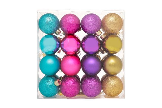 Vue Holiday Opulence Baubles, $29.99, [Myer](https://www.myer.com.au/shop/mystore/arabian-nights/holiday-opulence-32-pack-shatterproof-assorted-baubles-matte-glitter-shiny-532095220)