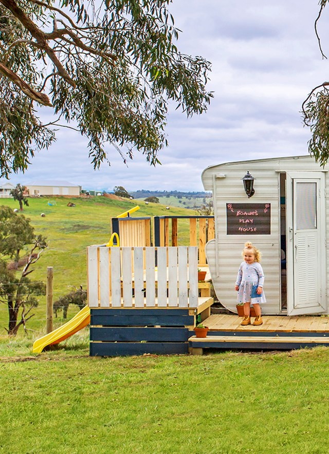 """A DIY-savvy mum has transformed an old [caravan into a cubby house](https://www.homestolove.com.au/how-renovate-caravan-into-playroom-5945