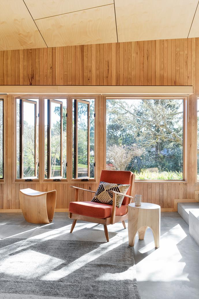 Salvaged Tasmanian oak is a standout feature in this living room.