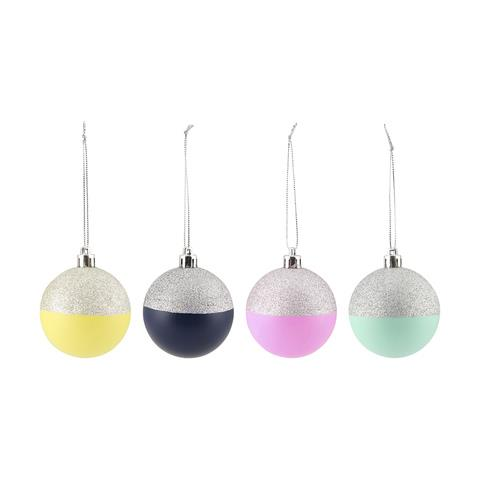 """There's no need to limit yourself to a traditional red and green Christmas palette. This set of funky, multi-coloured Christmas tree baubles will set your tree apart from the rest this year. <br><br> 4 pack dipped baubles available from [Kmart](http://www.kmart.com.au/product/4-pack-dipped-baubles/1813871