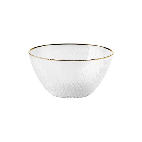 """Pass the salad in this elegant gold-rimmed glass bowl from Linen House. <br><br> Bon bon gold rim salad bowl available at [Temple and Webster](https://www.templeandwebster.com.au/Bon-Bon-Gold-Rim-Salad-Bowl-01299D771-LNHO1603.html?event_id=10494