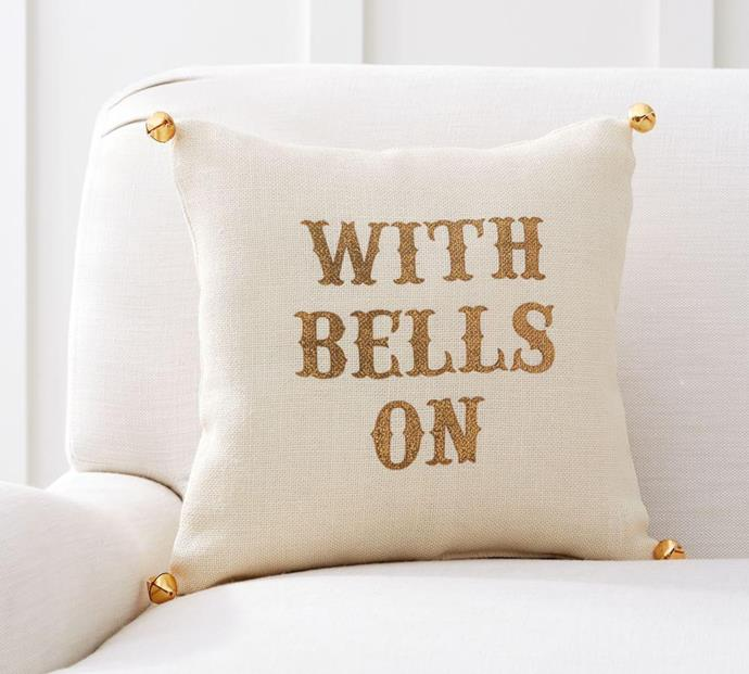 """Get the guest room Christmas-ready in one simple step: add a throw cushion.  <br><br> The Emily & Meritt Bell sentiment cushion is available from [Pottery Barn](http://www.potterybarn.com.au/emily-meritt-bell-sentiment-pillow