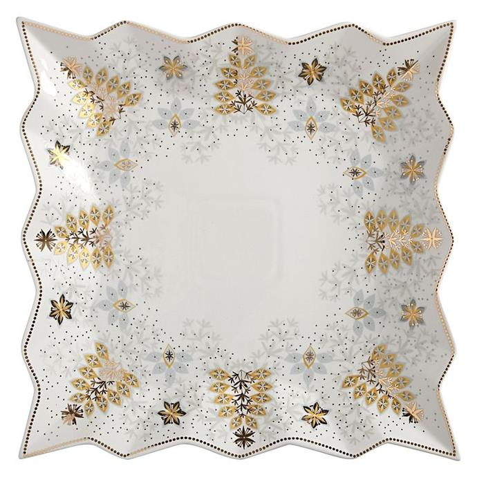 """Plate-up some delicious Christmas treats on this white and gold square platter from Maxwell and Williams. <br><br> O Christmas tree square platter available from [Zanui](https://www.zanui.com.au/O-Christmas-Tree-Square-Platter-30cm-146475.html