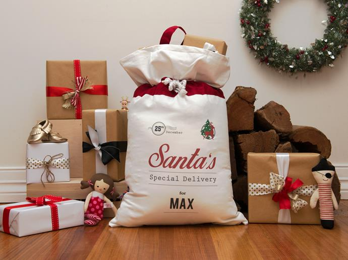 """The kids will be racing to open their very own personalised Santa gift-sack on Christmas morning. <br><br> Traditional special delivery Santa sack available from [Temple and Webster](https://www.templeandwebster.com.au/Traditional-Special-Delivery-Santa-Sack-IDx073SS-IDTE1003.html