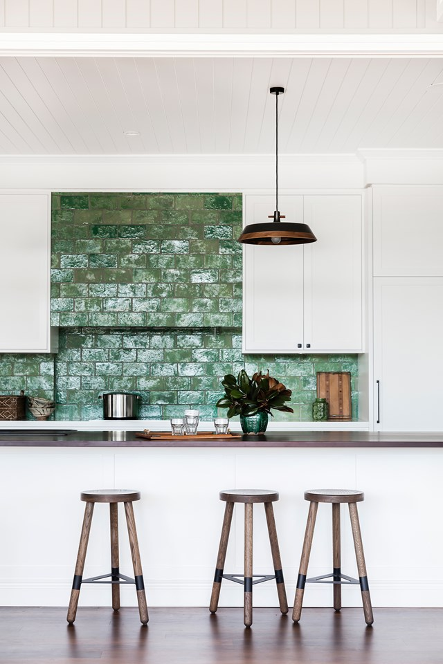 "Chocolate coloured [Paperock] ties in the white and green tones used in this kitchen in a [renovated Queenslander](https://www.homestolove.com.au/queenslander-renovation-and-extension-5965|target=""_blank"")."