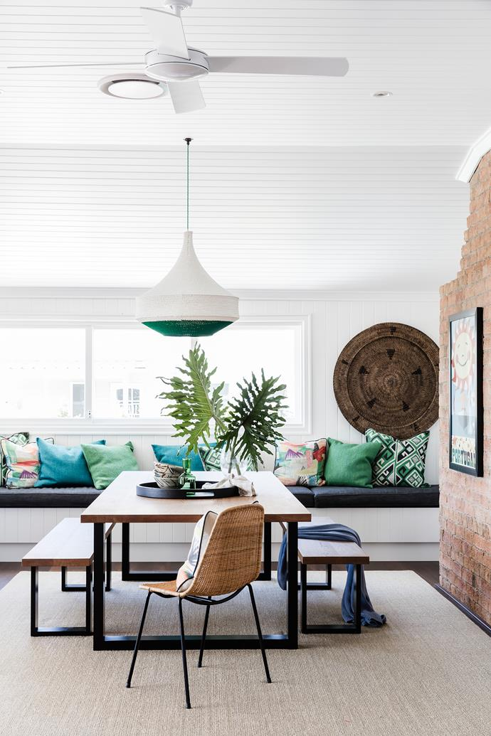 The banquette is great for relaxing and extra guests. 'Loop' dining table and benches, from Mark Tuckey. Feelgood Designs 'Basket' chair, from Janie Collins Interiors. Rug, from International Floorcoverings. **Smart buy:** 'Joosh' crochet pendant light, $450, from Hamimi.