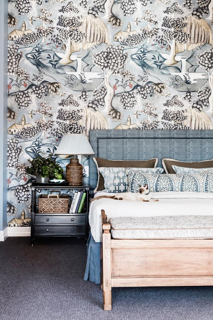 """It's so beautiful and calm,"" says Kate. 'Zoffany' wallpaper, from Fusion Design Agencies. Bedhead in Kerry Joyce Textiles 'Architects Quilt'. 'Ashington' carpet, from Choices Flooring."
