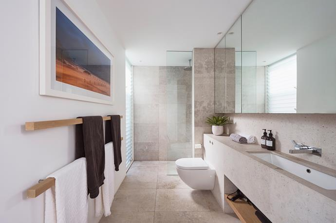 Limestone is also used throughout the bathrooms.