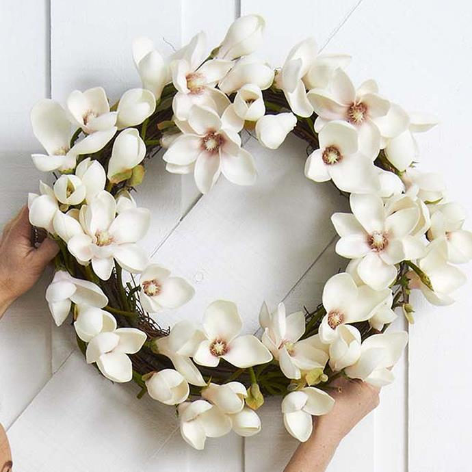 "Magnolia Wreath, $149, [Provincial Home Living](https://www.provincialhomeliving.com.au/magazine/christmas-wreaths/magnolia-wreath|target=""_blank""
