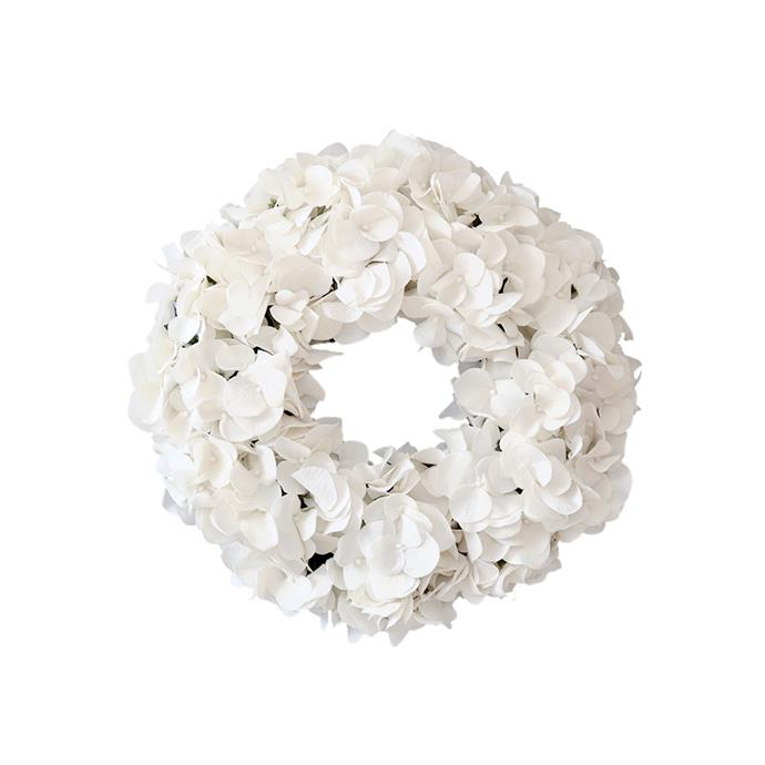 White Hydrangea Wreath, $100, [The Doors of Berry](https://thedoorsofberry.com.au/collections/christmas-collection/products/white-or-red-hydrangea-wreath?variant=48503132935).