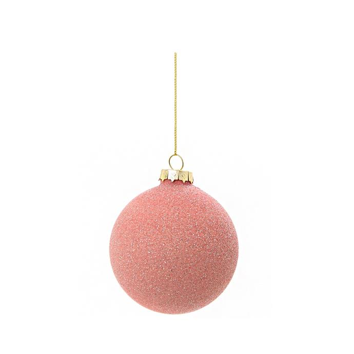 Frosted Pink Glass (set of 6), $43, [Temple & Webster](https://www.templeandwebster.com.au/Frosted-Pink-Glass-Bauble-FVV1754136-FLRA1587.html).