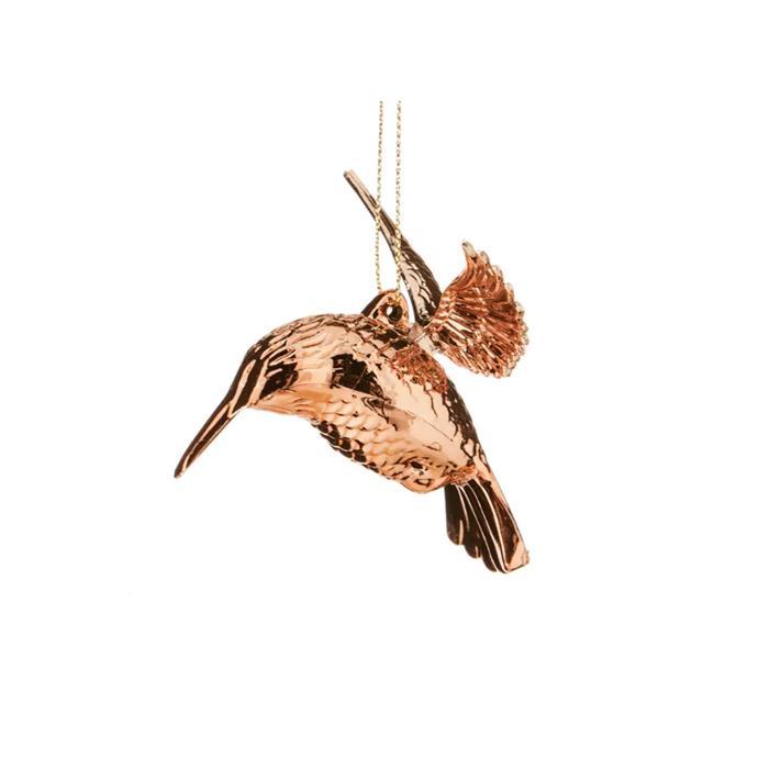Rose Gold Hummingbird Ornament, $9, [Domayne](http://www.domayneonline.com.au/homewares/christmas/tree-decorations/shiny-hummingbird-ornament.html).