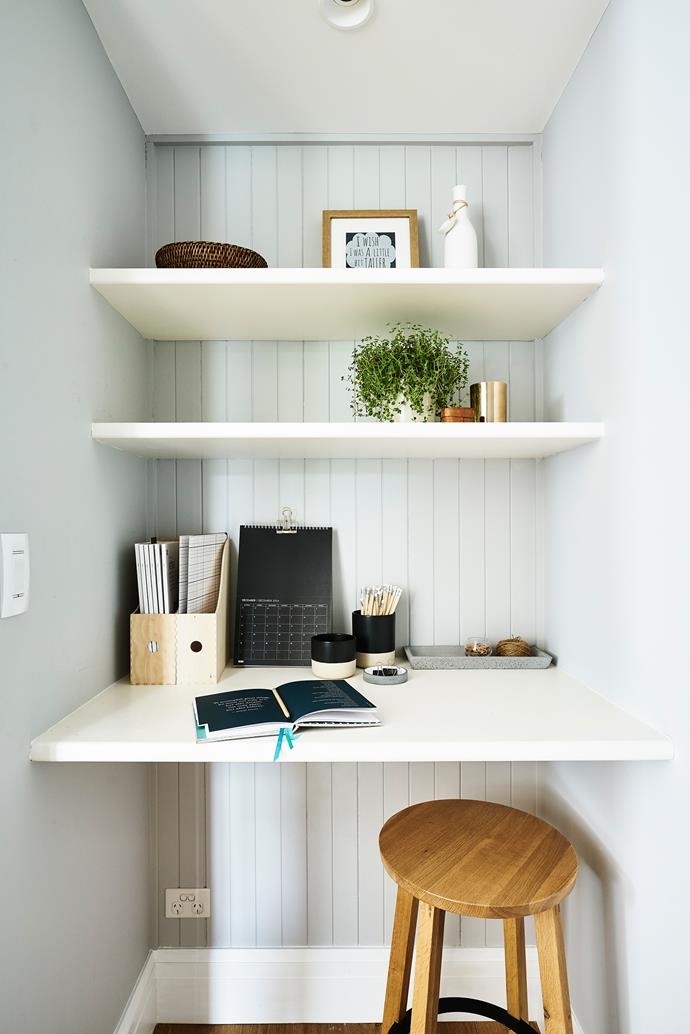 Just off the kitchen, the built-in desk and shelves in the study nook are MDF.