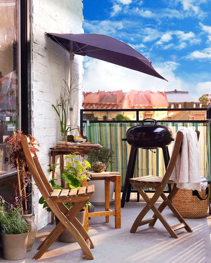 "This parasol and base, both from [Ikea](http://www.ikea.com/au/en/|target=""_blank""