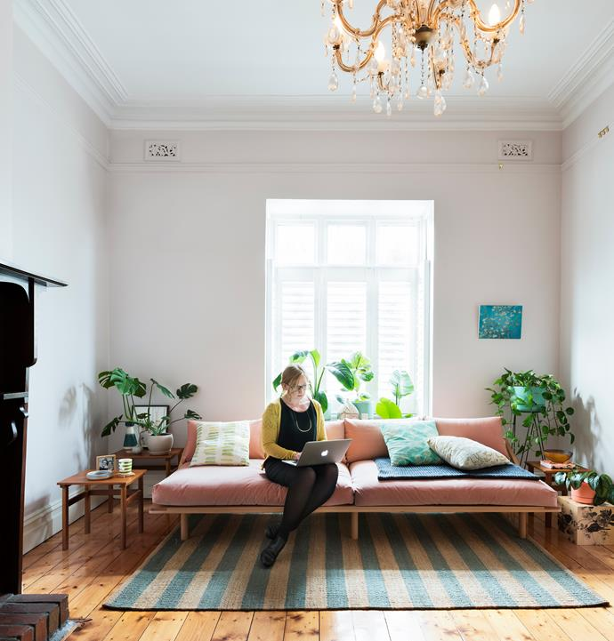 """""""Green has been my favourite colour for as long as I can remember,"""" says Vilija, who introduced the hue through plants, cushions and other decorative touches."""