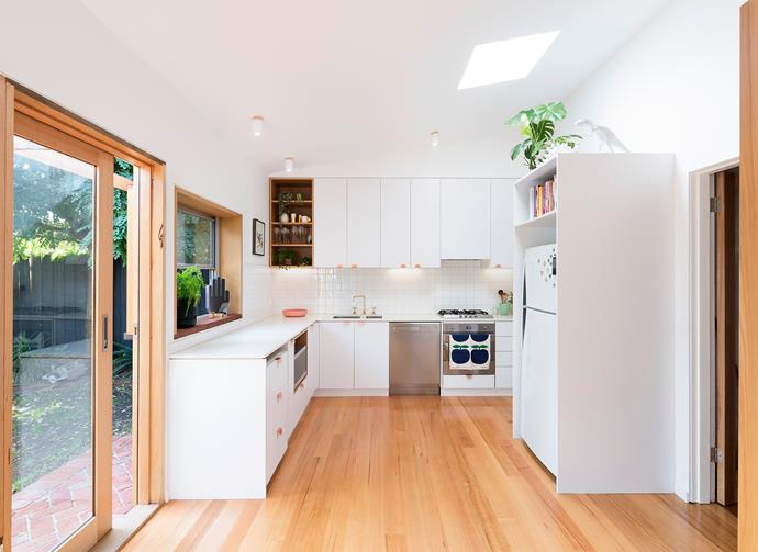 """Vilija chose Polytec joinery in Classic White and Silestone benchtops in Blanco Matrix for the kitchen. """"The Auhaus copper door handles were one of my splurges,"""" she adds."""