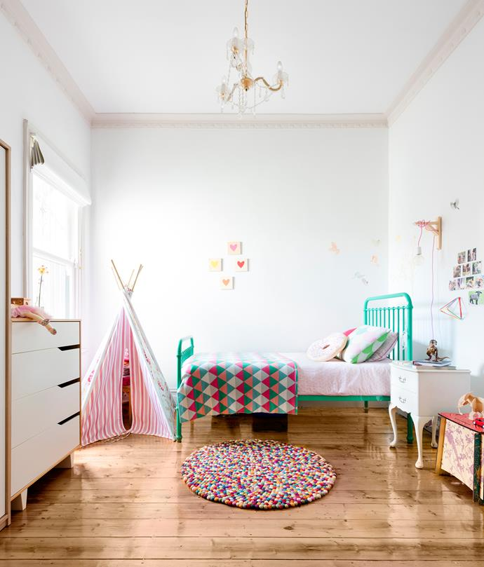 Pops of colour turn this kids bedroom into a playful haven.