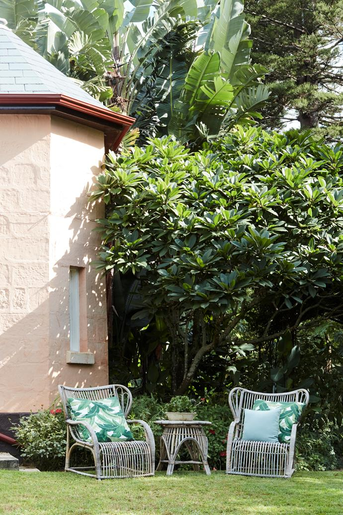 The east-facing lawn is just the place for morning tea.