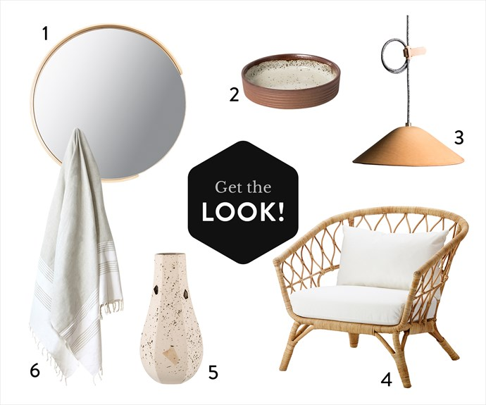 """1. Segment mirror, $139, Città. 2. Terracotta and white dish, $39.25, Lightly. 3. IE Francis """"Loop"""" pendant  in Natural, $440, Barnaby Lane. 4. Stockholm 2017 rattan armchair with cushion, $349, Ikea. 5. Carved vase 'Curved in Confetti', $39, Zakkia. 6. Teshvikiye hand towel in White, $29, Atolyia."""