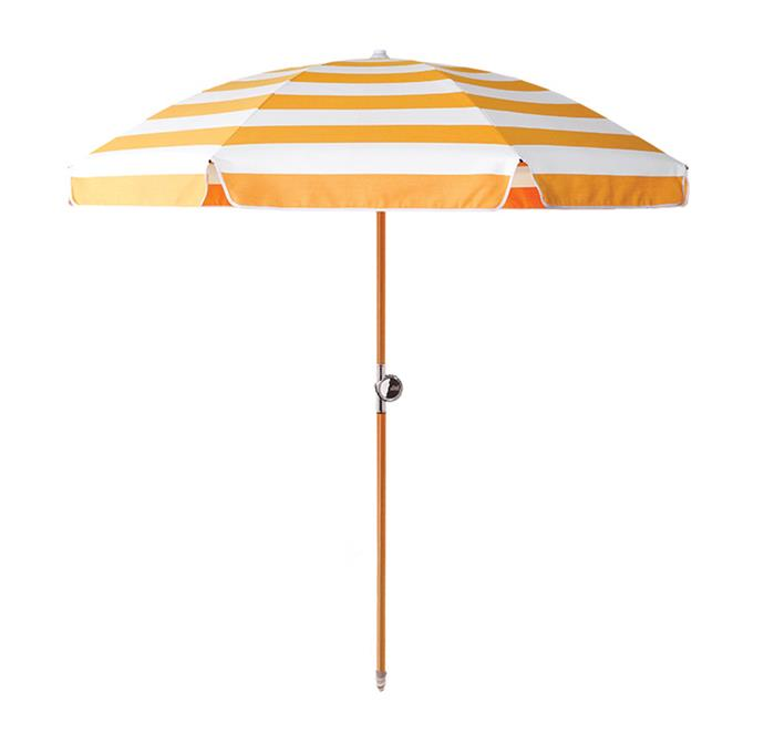 Protect your family from the sun while on the sand with a sturdy (and good-looking) beach umbrella. Available in a range of fun colours and patterns, the kids won't lose you in a sea of people on the beach.  [Basil Bangs Miss Marigold beach umbrella](https://basilbangs.com/au/product/miss-marigold-beach-umbrella/), $450