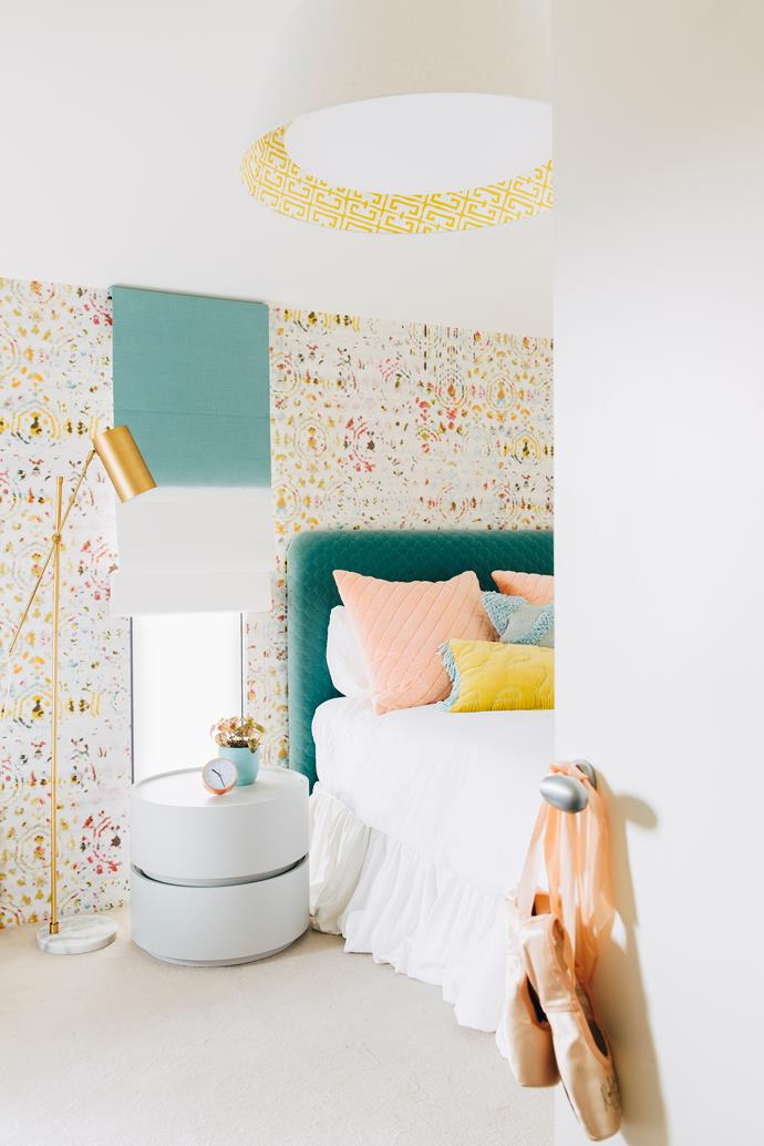 """**Girl's Zone Story by** Jacquie Pask of [Moss](https://www.mossmelbourne.com.au/ target=""""_blank"""" rel=""""nofollow"""") Ballerina meets surfie chick' was the theme for the chic Melbourne bedroom opposite, a teenage girl's sanctuary. A sunny palette is sparked by the wallpapered feature wall, while quilted velvet on the bedhead and cushions add extra layers of comfort. Fresh whites provide balance and, in conjunction with clean-lined furniture and plentiful storage, set up a calm and organised ambience. """"In a house often dominated by her boisterous brothers, we needed to create a feminine sanctuary,"""" says Jacquie. *Photography: Lauren Bamford*"""