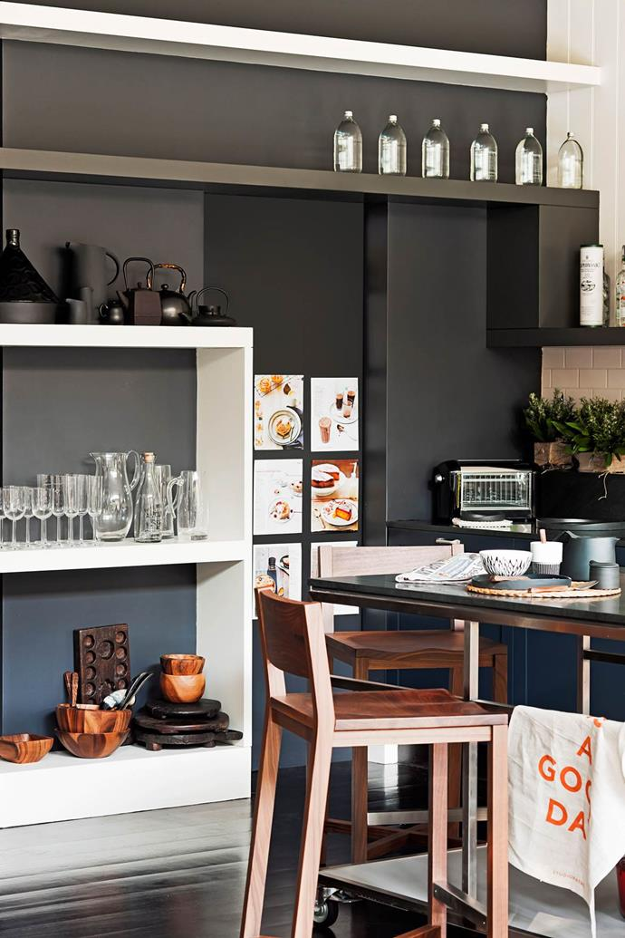 This kitchen's open shelving provides easy access to any glasses or serving ware, allowing guests to help themselves as they need. *Photo: Chris Warnes / bauersyndication.com.au*