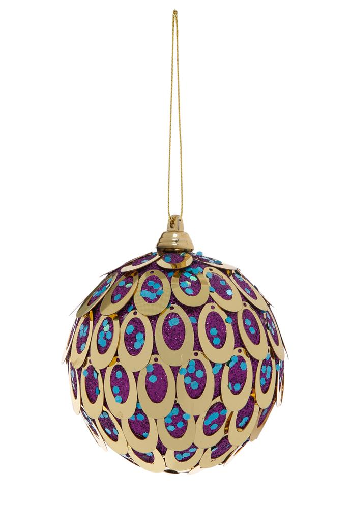 Vue Holiday Opulence Plastic Peacock Sequin Ball, $7.99, [Myer](https://www.myer.com.au/shop/mystore/featured-brands-vue/holiday-opulence-plastic-peacock-sequin-ball---purple-and-gold-528303790)