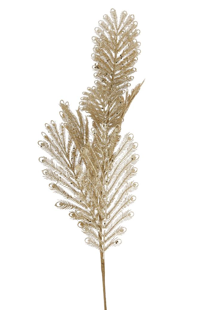 Vue Holiday Opulence Plastic Fern Pick, $19.99, [Myer](https://www.myer.com.au/shop/mystore/arabian-nights/holiday-opulence-plastic-fern-pick---gold-528659560)