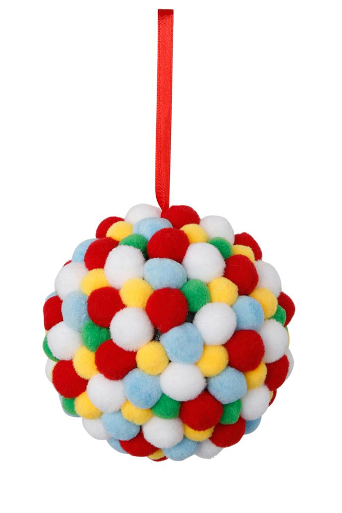 Vue Jingle Bells Multicolour Pom Pom Ball, $9.99, [Myer](https://www.myer.com.au/shop/mystore/santas-workshop/jingle-bells-multicolour-pom-pom-ball-528656410)