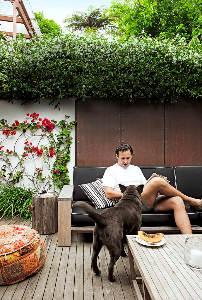 """Landscape designer Anthony Wyer (pictured) designed this living area in his sister's Sydney backyard. Marine-grade textiles stand up to the elements, while the merbau deck and copper wall panels will weather naturally. [Wyer & Co designs](www.wyerandco.com.au