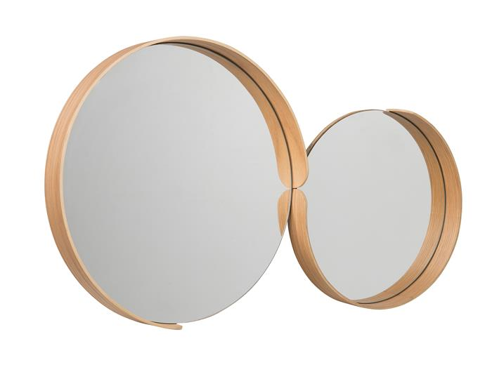 "Segment mirrors with plywood and oak veneer frames in Natural Oak, $169 (45cm diameter; at left) and $139 (35cm diameter), [Città](https://www.cittadesign.com/house-home/mirrors-rugs/mirrors/segment-mirror-mit0002l|target=""_blank""|rel=""nofollow"")"