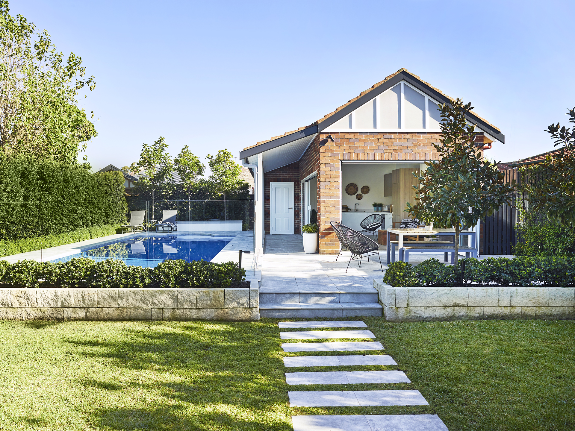 an old garage transformed into party ready pool house australian house and garden. Black Bedroom Furniture Sets. Home Design Ideas