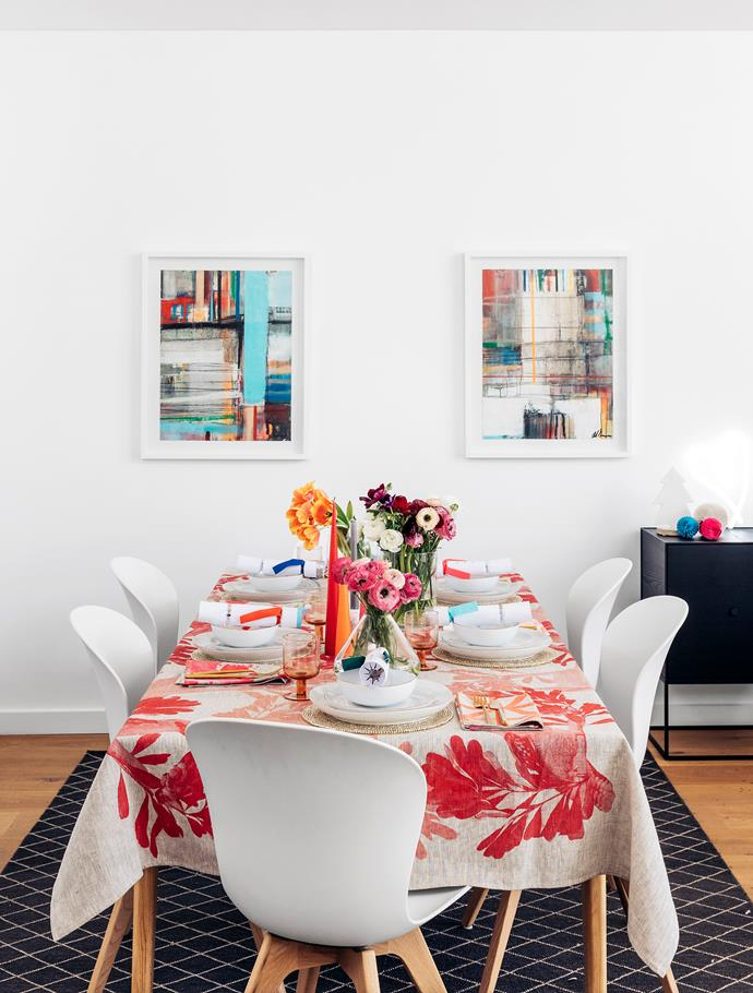 Chairs, BoConcept. Dinnerware, West Elm. Cutlery, Country Road. Candles, Kmart (grey) and Top3 by Design. Placemats, Freedom. Crackers, Papier D'Amour.