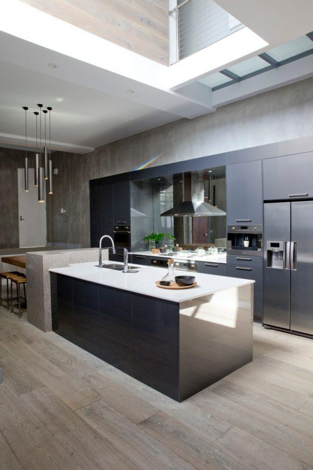 """**CEILING VOID** <br><br> This sophisticated, modern yet timeless kitchen combined bold black cabinetry, a breath-taking ceiling void and overall high-end style to create a moody, zen space. *Photo: courtesy of [The Block](http://www.homestolove.com.au/the-block-2017-kitchen-reveals-5744