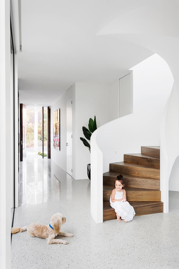 Harper with Bentley, the family's six-year-old cavoodle. The curved staircase is one of Martin Friedrich's signature designs.