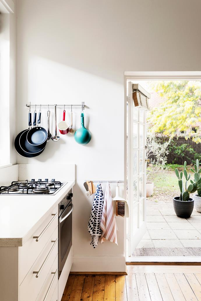 The kitchen is Jonno's domain and features tea towels and a sweeper and funnel from Hunting For George.