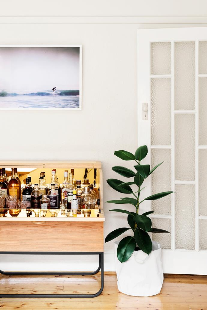 """The couple love the [Grazia & Co](https://graziaandco.com.au/ target=""""_blank"""" rel=""""nofollow"""") sideboard, which conceals their booze collection. """"It makes for a good party trick when we lift the lid to reveal all its treasures,"""" Lucy laughs."""