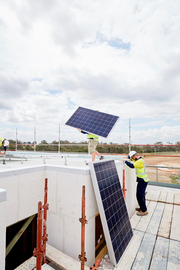 """**NOVEMBER 27, 2017: PANEL POWER** <br><br> Photovoltaic panels have now been fixed to the roof of the front section of My Ideal House. Installers were onsite at Crest by Mirvac last week to put the Bradford solar panels on its Colorbond roof. My Ideal House will have a [Bradford 5.4kW Solar ChargePack](http://www.bradfordsolar.com.au/