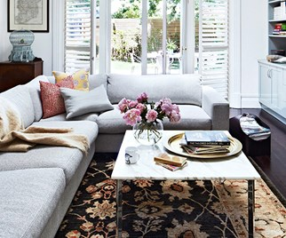Living room with plantation shutters